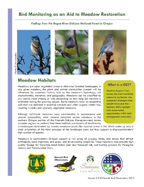 KBO 2013 Bird monitoring as aid to meadow restoration cover page 72 ppi 4 x 5.2
